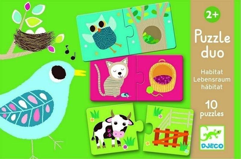 Puzzle zwierzęta i ich domki