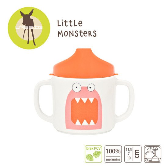 Lassig Kubek z melaminy Little Monster koral
