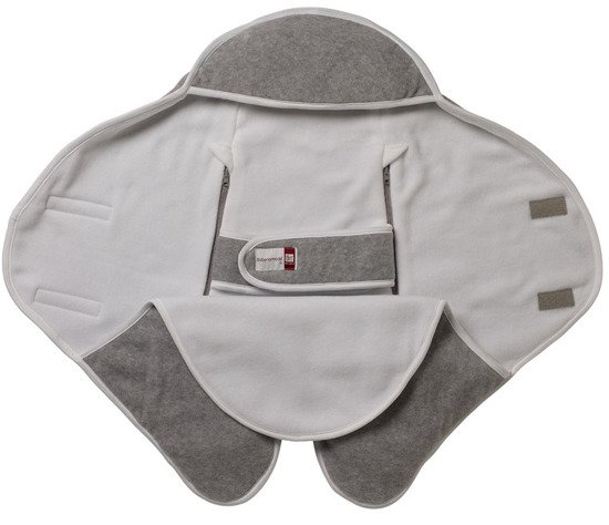 Otulacz rożek Babynomade 6-12m Double Fleece Light grey/ White Red Castle